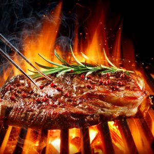 Entrecote Beef Steak On Grill With Rosemary Pepper And Salt - Barbecue